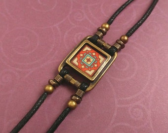 Spanish Tile Bracelet, Brick Red Yellow and Mint Green on Gold-Plated Brass and Black Waxed Cotton Cord