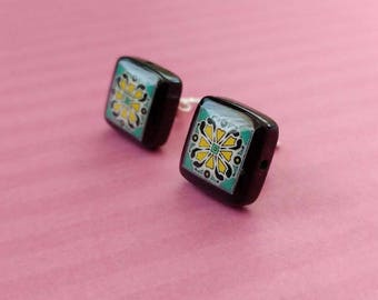 Black Onyx and Sterling Silver Post Earrings, Turquoise & Pink Spanish, Mexican, Catalina and Mediterranean Tile Inspired