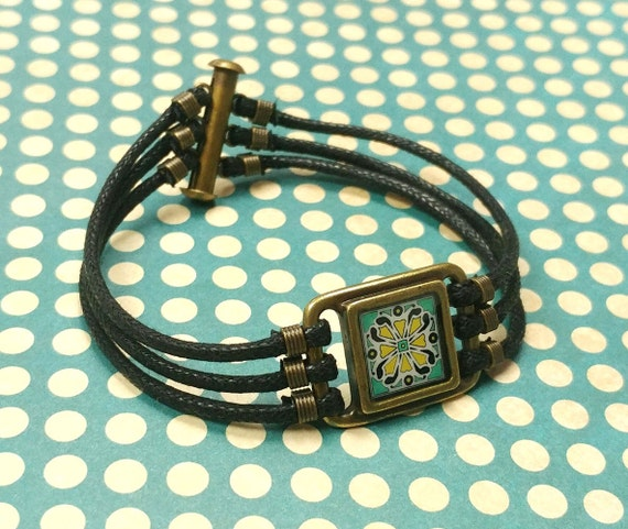 Spanish Tile Bracelet, Pink & Turquoise, on Gold-Plated Brass and Black Waxed Cotton Cord