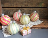 Set of 5 Vintage Christmas Tree Ornaments West Germany DBGM Hand painted Vintage Ornament Glass Stripes Pink Red Yellow Green Round Ball