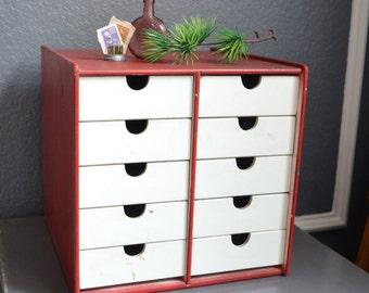 Vintage Handmade Storage Box Wooden Storage Desk Drawer Organizer Tool Box Primitive Red White Shelf Shelving Vintage Wooden Box Beads Shop