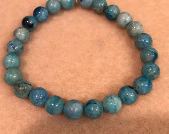 Hemimorphite 8mm Round Bead Stretch Bracelet with Sterling Silver Accent