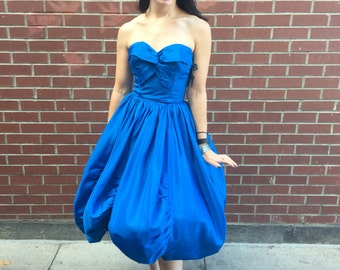 1950's Royal Blue Taffeta Strapless Bubble Hem Party Dream Dress Rockabilly Pinup