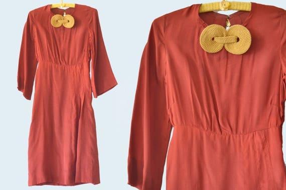 1930s Burgundy Dress, Gold Details, size S
