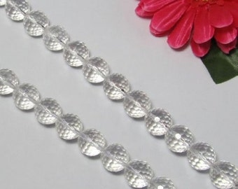 White rock crystal Quartz 14mm round faceted Loose Beads