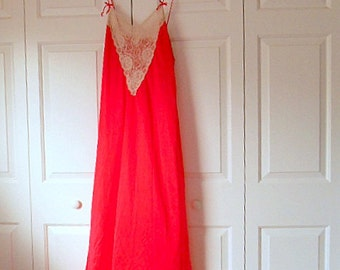 Vintage red slinky maxi length romantic nightgown