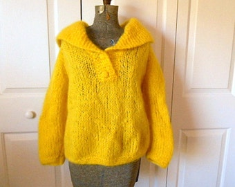 ON SALE.........Vintage neon yellow chunky knit Wool pullover Sweater