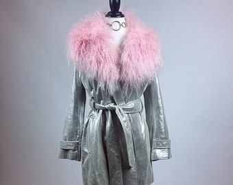 90s Silver Leather Pastel Pink Mongolian Fur Collar Trim Trench Coat // M