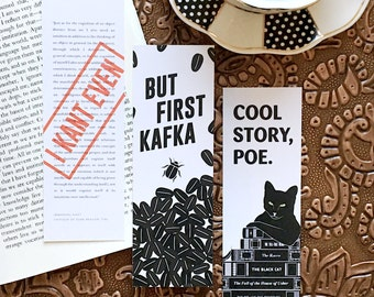 Pun Bookmarks, Set of Six, Literary Gift, Funny Bookmark, English Teacher Gift for Him, College Student Gift, Bookworm