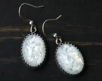 White Marbled Opal Earrings