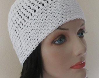 White Cotton Hat, Crocheted Cotton Beanie, Warm Weather Accessory
