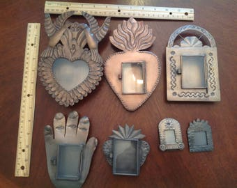 Set of 7 !!!!!!!! Tin and Glass Nichos!!!