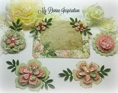 Bo Bunny Soiree Shabby Chic Paper Embellishments, Paper Flowers for Scrapbook Layouts Cards Mini Albums Tags and Papercrafts