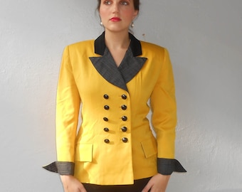 Vintage 1980s ILIE WACS mustard yellow & black pinstripe double-breasted blazer, size 10