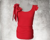 Red bow top/Women scallop sleeve/Removable bow