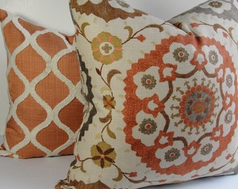 SUZANI Basketweave Cornwall Linen Both sides Decorative Pillow Cover - Rust orange Gray Brown Natural Throw pillow