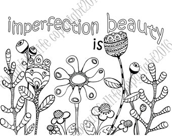 Coloring page - imperfection is beauty