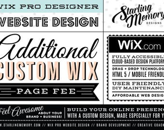ADDITIONAL CUSTOM Wix Website Page Fee - Wix Website Design Package Add-On - Wix WebDesign Package Add-On - Wix Pro Designer Package
