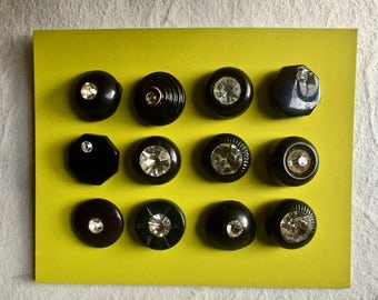 12 Vintage Black Buttons with Rhinestones in Assorted Settings for Crafts and Sewing