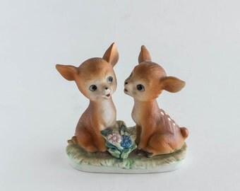 Vintage Baby Deer Fawn Pair Figurine Mid Century Porcelain Nature Animal Forest Woodland Nursery Decor