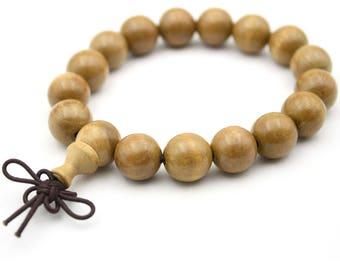 Tibetan Buddhist 12mm x 12mm Wood Prayer Beads Bracelet Mala  JT001