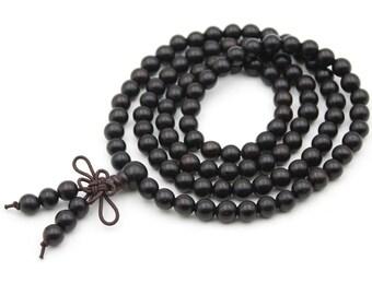 Tibetan Buddhist 108 6mm x 6mm Wood Prayer Beads Japa Mala  ZT003