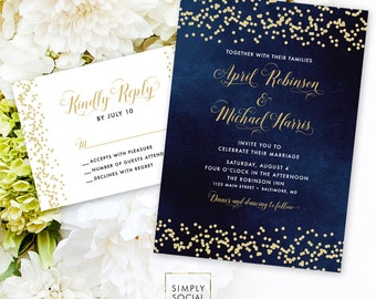 Navy Wedding Invitation Suite - Faux Gold Glitter Confetti and Navy Wedding Invitation Reply Card Invitation Printable