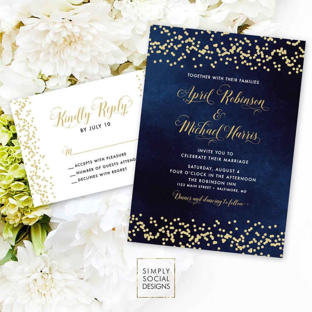 Navy Wedding Invitation Suite - Faux Gold Glitter Confetti and ...