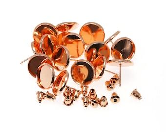 8mm Rose Gold Tone Brass Earring Tray Setting Blanks, Earring Backs INCLUDED