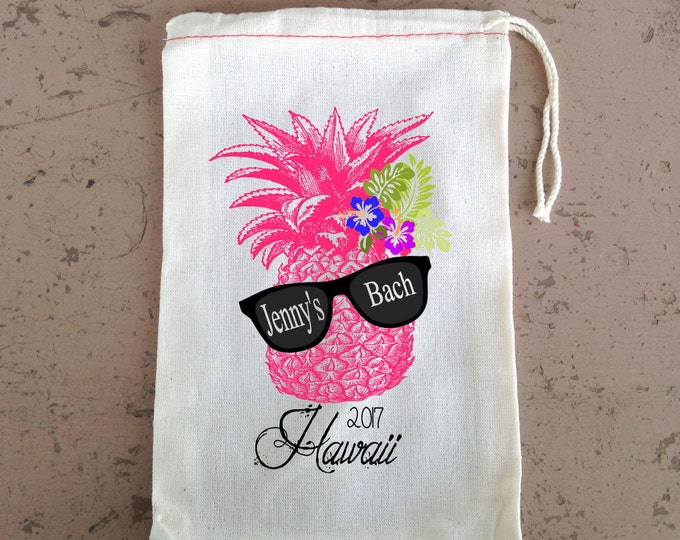 Where My Beaches At Retro Pineapple with Sunglasses -Beach Bachelorette Favor - Wedding Welcome Favor Bag