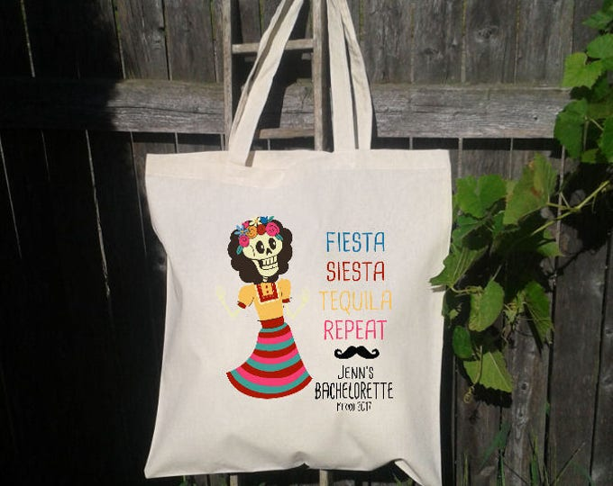 Mexico Bachelorette Tote Bag, Fiesta Siesta Repeat -Mexican Wedding, Day of the Dead, Sugar Skull Wedding