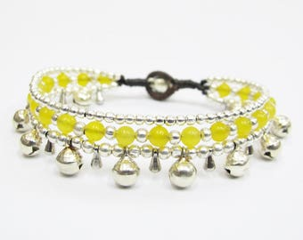 Bead Bracelet - Hippie Summer Bracelet with Silver Color Bells and Yellow Quartz Stone bead.