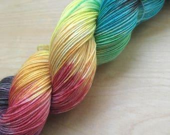 Dark spectrum colorway superwash wool sock yarn
