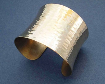 Hammered Gold Cuff Bracelet in Solid Brass Ripple Texture Modern Jewelry Handmade