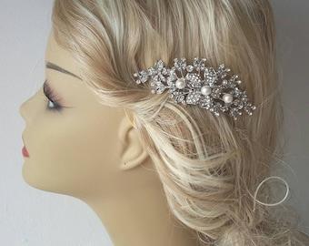 Bridal Pearl Comb, Bridal hair comb with Natural Freshwater  Pearl Beads-Pearl Bridal Hair Comb Rhinestone Bridal Comb Weddings