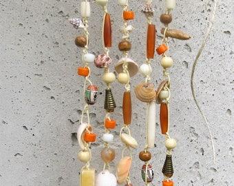 Handmade Sea Shell Wind chimes with assorted Gemstones, Glass, Bone and Buffalo Horn