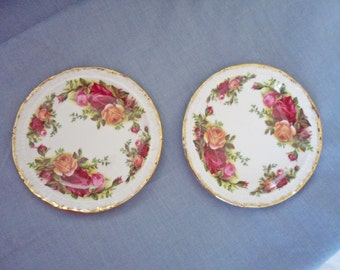 "Pair of Royal Albert Bone China Old Country Roses 4 3/4"" Coasters"