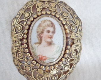 Large Vintage filigree Portrait Brooch