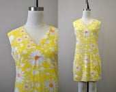 1960s Yellow Floral Scooter Dress/Skort