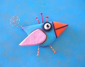 Bird Wall Art, Little Bluebird, Original Found Object Wall Sculpture, Wood Carving, Wall Decor, by Fig Jam Studio