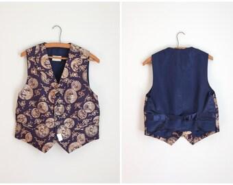 50s purple & bronze brocade vest - metallic brocade vest / 1950s brocade formal waistcoat / purple brocade vest - hand tailored vest