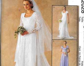 McCalls 2028 Misses Empire Waist Bridal Gown Wedding Dress Evening Sewing Pattern UNCUT Size 10, 12, 14