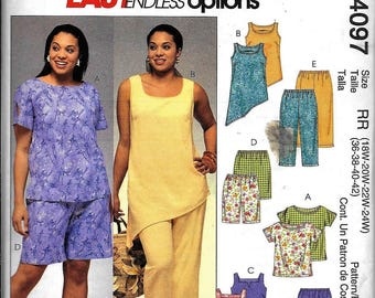 McCall's M4097 Endless Options Tunic Capri Shorts Pants Sewing Pattern 4097 Plus Size 18W, 20W, 22W, 24W