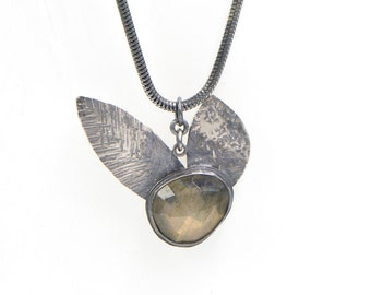 Faceted Labradorite Sterling Silver Hammered Double Petal Necklace