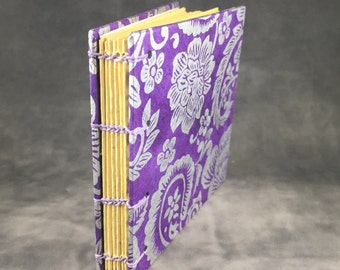 Purple and Silver Paisley Coptic Bound Journal