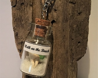 WALK on the BEACH Jewelry with CRAB Claw Pendant Sea Glass Necklace Miniature Terrarium Bottle