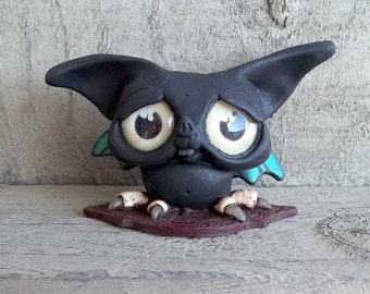 Shifty Shorty the Bat, original art,polymer clay sculpture,figurine desk buddy,cake topper,Gothic creature