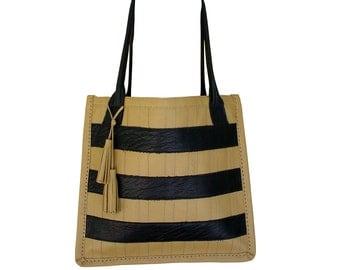 Striped leather tote bag, black & tan - Hand stitched leather tote - Fashion bag - Big leather tote bag - camel - black - in stock -