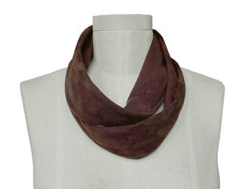 Suede Scarf - Chocolate Brown - leather Infinity scarf - Leather Scarf - Loop scarf - Skinny scarf - Avant garde scarf - men scarf - women