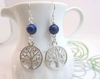 tree of life earrings - silver tree charm earrings - blue lapis lazuli earrings earrings - tree of life dangles - sterling silver ear wires